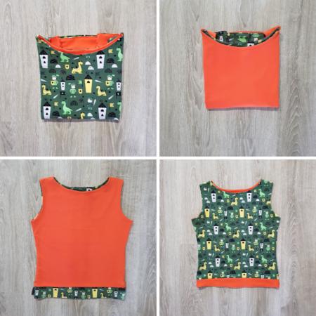 Top in maglina di cotone doubleface: arancione e con stampa verde